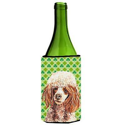 Red Miniature Poodle Lucky Shamrock St. Patricks Day Wine bottle sleeve Hugge...