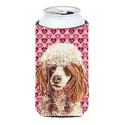 Red Miniature Poodle Hearts And Love Tall Boy bottle sleeve Hugger 22 To 24 Oz.
