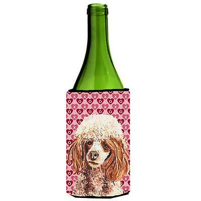 Red Miniature Poodle Hearts And Love Wine bottle sleeve Hugger 24 Oz.