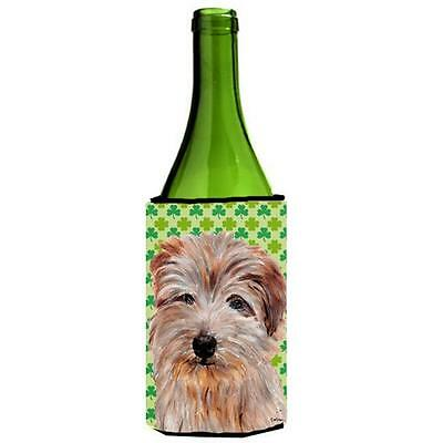 Norfolk Terrier Lucky Shamrock St. Patricks Day Wine bottle sleeve Hugger 24 Oz.