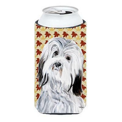 Havanese Fall Leaves Tall Boy bottle sleeve Hugger 22 To 24 Oz.