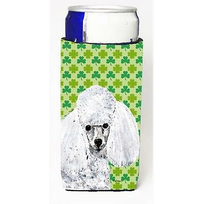 White Toy Poodle Lucky Shamrock St. Patricks Day Michelob Ultra bottle sleeve...