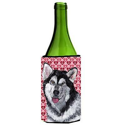 Alaskan Malamute Hearts Love And Valentines Day Wine bottle sleeve Hugger 24 Oz. • AUD 48.26