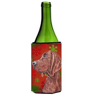 Redbone Coonhound Red Snowflakes Holiday Wine bottle sleeve Hugger 24 Oz.