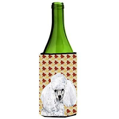 White Toy Poodle Fall Leaves Wine bottle sleeve Hugger 24 Oz.