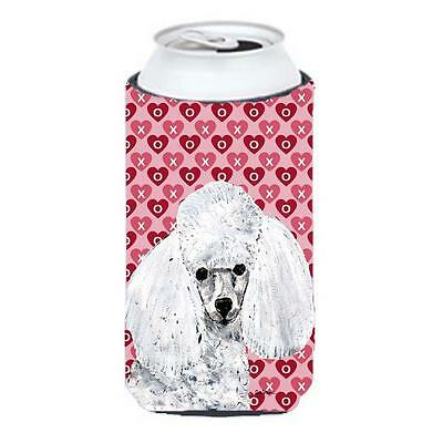 White Toy Poodle Hearts And Love Tall Boy bottle sleeve Hugger 22 To 24 Oz.