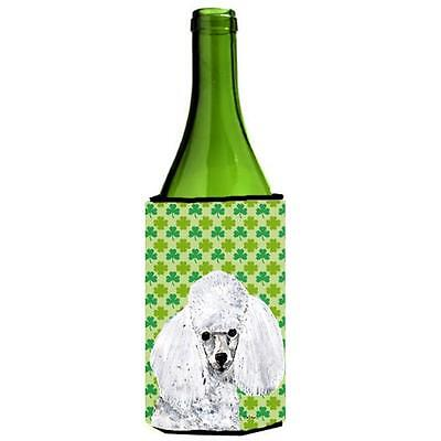 White Toy Poodle Lucky Shamrock St. Patricks Day Wine bottle sleeve Hugger 24...