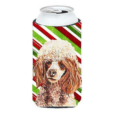 Red Miniature Poodle Candy Cane Christmas Tall Boy bottle sleeve Hugger 22 To...
