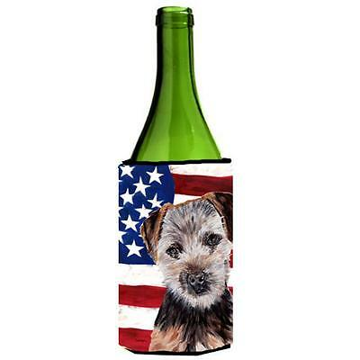 Norfolk Terrier Puppy With American Flag Usa Wine bottle sleeve Hugger 24 Oz.
