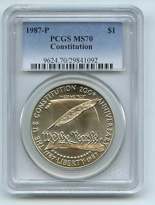 1987 P $1 Constitution Silver Commemorative Dollar PCGS MS70