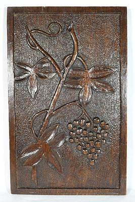 Unusual Antique 19thC. Carved Wooden Plaque, Using Older Wood