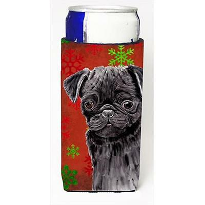 Pug Red And Green Snowflakes Holiday Christmas Michelob Ultra bottle sleeves ...