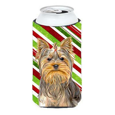 Candy Cane Holiday Christmas Yorkie & Yorkshire Terrier Tall Boy bottle sleev...