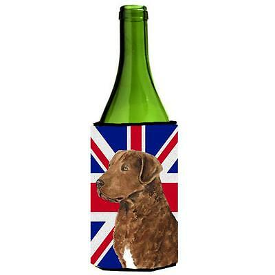 Curly Coated Retriever With English Union Jack British Flag Wine bottle sleev...