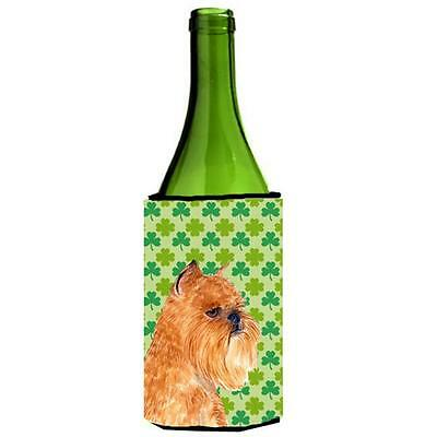 Brussels Griffon St. Patricks Day Shamrock Portrait Wine bottle sleeve Hugger...