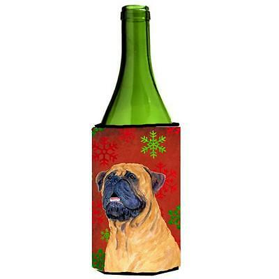 Mastiff Red And Green Snowflakes Holiday Christmas Wine bottle sleeve 24 oz.