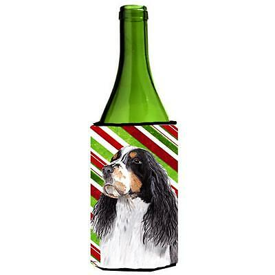 Springer Spaniel Candy Cane Holiday Christmas Wine bottle sleeve Hugger 24 oz.