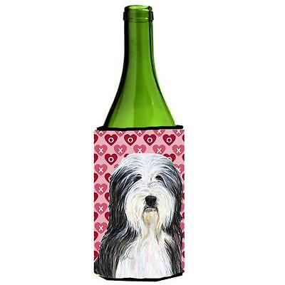Bearded Collie Hearts Love Valentines Day Portrait Wine bottle sleeve Hugger ...