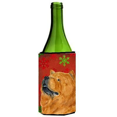 Chow Chow Red And Green Snowflakes Holiday Christmas Wine bottle sleeve 24 oz.