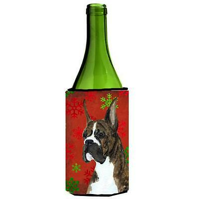 Boxer Red And Green Snowflakes Holiday Christmas Wine bottle sleeve 24 oz.