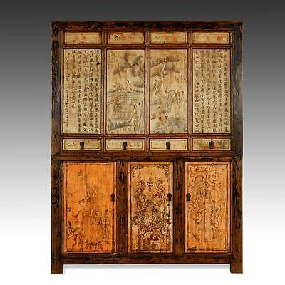 Fine Antique Chinese Pine Wood Lacquered Painted Compound Cabinet China 19Th C