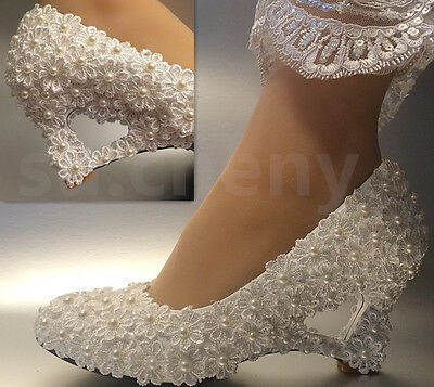 Ivory white pearls lace Daisy wedge Wedding shoes Bridal heart-shaped size 5-11