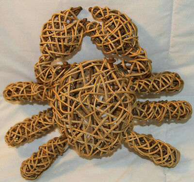 Woven Twig And Metal Crab Nautical Decor 12""