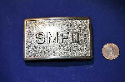 Santa Monica  Fire Department Smfd Polished Silver  Belt Buckle Nos