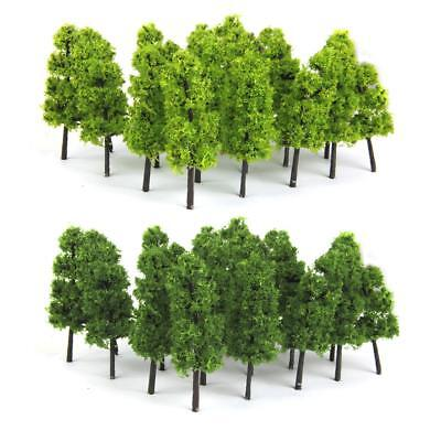 20 Dark/Light Green Trees Model Train Railway Forest Wargame Landscape HO OO