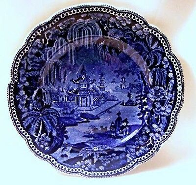 Antique Clews Dark Blue Transferware Plate With Weeping  Willow Border