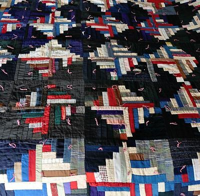 1880-1900 Graphic Log Cabin Handtied Vintage Antique Quilt – Memory Quilt?
