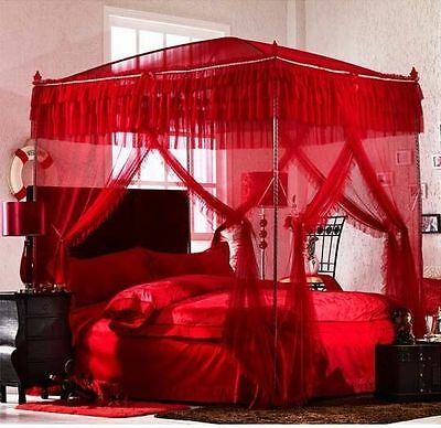 Luxury Red 4 Post Arched Bed Curtain Canopy Mosquito Net  With Bracket/Post
