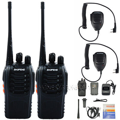 2PCS Baofeng BF888S UHF 400-470 CTCSS Ham Radio Walkie Talkies +Handheld Speaker