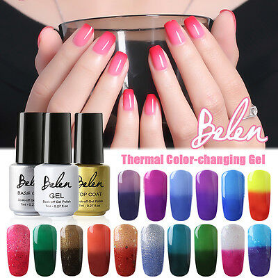 Belen Thermal Color changing Soak Off Gel Polish Nail Deco Lacquer Base Top Coat