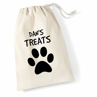 Personalised Dog/Cat Cotton Drawstring Treat Bag Name With Paw Print Doggy Pooch