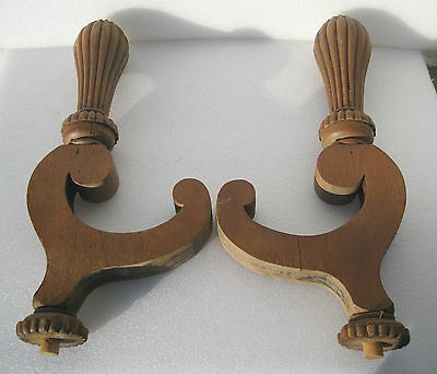 Pair  Large Carved + Fluted Posts / Supports For Victorian Oak Sideboard Mirror