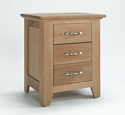 Sherwood Oak 3 Drawer Bedside Table Cabinet Chest-Solid Oak Unit-In Stock-