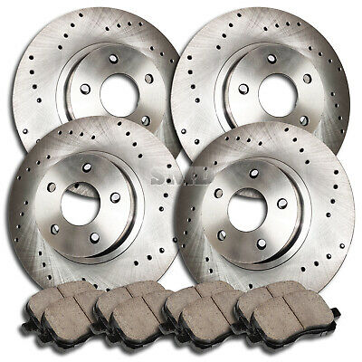 P0102 FIT 2008 2009 Town /& Country Cross Drilled Brake Rotors Ceramic Pads FRONT
