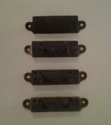 4 Patented Drawer Pulls  Antique Victorian Old Furniture Steampunk Industrial