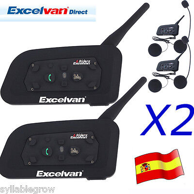 2x 1200M BT Intercomunicador Bluetooth Casco Auriculares Moto 6 Rider Interphone
