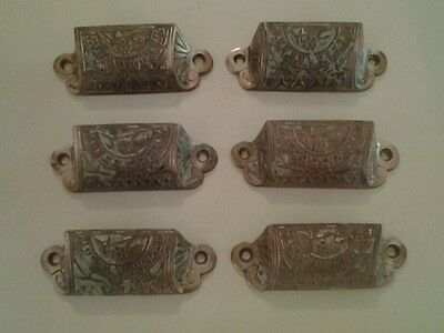 6 Patented Cast Bronze Drawer Pulls  Antique Victorian Old Furniture Steampunk