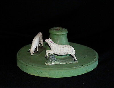 Wooden tree stand with sheeps  -  around 1900  - hand carved  (# 5530 )