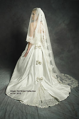 Custom Made Order - Ivory Floral Lace Cathedral veil  Bridal Wedding 2Tier veil
