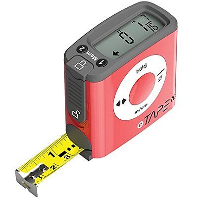 eTape16 Contractor 16' Digital Tape Measure, Construction Ruler, Red NEW