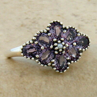 Lab Alexandrite & Pearl Antique Victorian Style .925 Sterling Silver Ring,  #223
