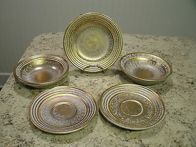 Hard to Find 5 Pc Lot of STANGL Pottery Antique Gold Saucers / Plate / Bowls