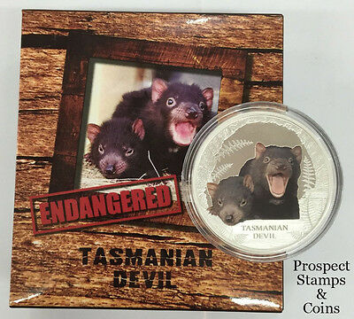 2013 Endangered & Extinct Series - Tasmanian Devil 1oz Silver Proof Tuvalu Coin