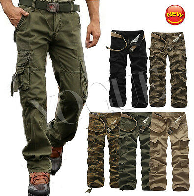 Casual Men's Military Army Cargo Pants Camo Combat Cotton Work Trousers Fatigue