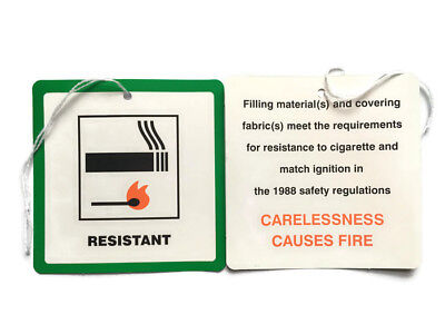 5 Fire Resistant Flame Retardant labels Swing Tags Furniture Upholstery DL7