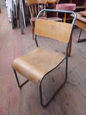 retro design 1950s 1960s vintage tubular metal base chair with bentwood ply seat